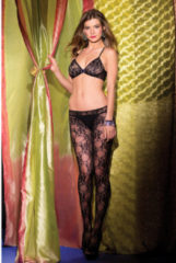 Zwarte Be Wicked Open Lingerie Catsuit Met Bloemendesign