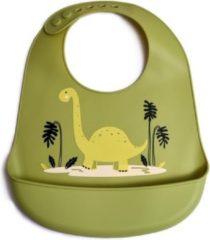 Groene Telano® Slabbetje met Opvangbakje Dino - Siliconen Slabber Baby Peuter - Verstelbaar en Waterproof - Kraamcadeau - Dinosaurus