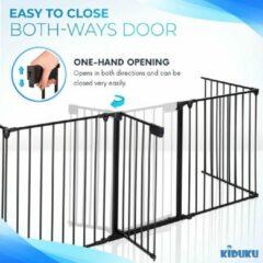 Zwarte KIDUKU® Veiligheidshek metaal 305 cm | voor Huisdieren & Kinderen | Kachelhek, Veiligheidsrooster voor oven vouwbaar | Configuratierooster incl. 5 elementen, deur