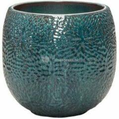Donkerblauwe Ter Steege Pot Marly Ocean Blue ronde blauwe bloempot voor binnen en buiten 30x28 cm