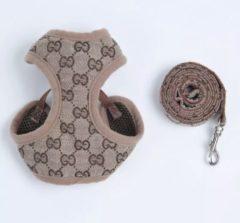 Beige Eitherway Products Honden tuigje maat S - Honden tuigje - Design patroon - Katten tuig incl riem