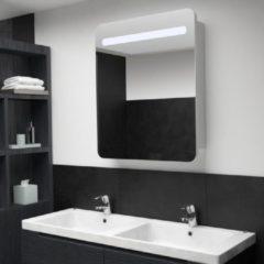 Zilveren VidaXL Badkamerkastje met spiegel LED 68x11x80 cm