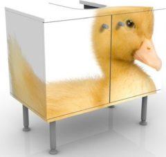PPS. Imaging Waschbeckenunterschrank - Entchen III - Badschrank Weiß Gelb