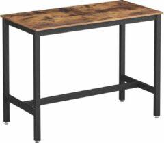 Donkerbruine VASAGLE bartafel, stabiele bartafel, tafel voor cocktails, keukentafel, 120 x 60 x 90 cm, metaal, eenvoudige montage, industrieel ontwerp, vintage bruin-zwart