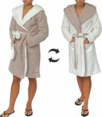 Sorprese - Luxe badjas - beige effen - wit effen - dubbelzijdig - capuchon - maat L/XL - Extra zachte badstof - MICRO FLEECE - badjas - bad jas - ochtendjas - Design G