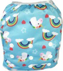 Blauwe Blije Billetjes Exclusief Wasbare Zwemluier Groot Rainbow Unicorns