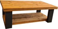 Bruine Wood4you - Salontafel New England - Roasted Wood 100lx72dx43h Dubbel