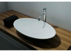 Ideavit Solidjazz opbouw wastafel 60x35x9cm ovaal 0 kraangaten 1 wasbak Solid surface wit 278599
