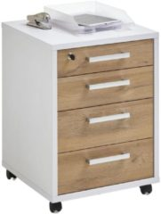 FD Furniture Ladeblok Calvia 65 cm hoog in wit met oud eiken