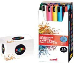 Uni-ball Paint Marker op waterbasis Posca PC-1MR, doos van 16 stuks in geassorteerde kleuren