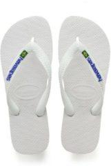 Witte Havaianas Brasil Logo Unisex Slippers - White - Maat 37/38