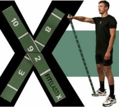 FITELASTIX - Premium Weerstandsband Stof - Alles in 1 - Resistance Band - Full Body - Sport Elastiek Fitness - Fitness Band - PWRXFIT Groen