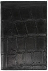 LouLou Essentiels Bi-fold portemonnees Passport Holder Vintage Croco Zwart