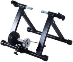 HOMCOM Rollentrainer Fahrrad mit Magnetbremse schwarz Heimtrainer Fahrrad Rennrad Trainingsgestell