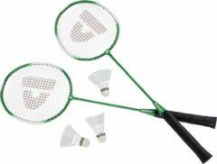 Merkloos / Sans marque Donnay badmintonset groen met rackets shuttles en opbergtas 67 cm - voordelige badminton set