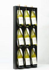 Ferro Duro Wijnrek - 9 flessen wijndisplay - zwart - gepoedercoat