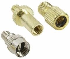 Verloopnippel voor fietsventiel - 3-delig - oa Frans ventiel verloopstukje/opzetstukje