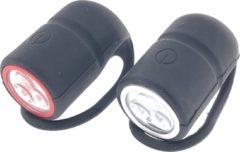 Merkloos / Sans marque 1x Fietslampen set voorlicht en achterlicht - silicone / waterdicht - inclusief 4x knoopcelbatterij CR2032 - fietslampensetje / fietsverlichting - koplamp en achterlamp