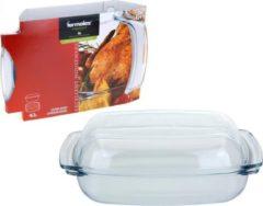 Transparante Glazen rechthoekige ovenschaal met deksel 34 cm - Ovenschalen/braadslede - Ovenschotel schalen met deksel - Bakvorm