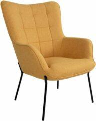 Norrut Glow fauteuil kerriegeel, zwarte poten.