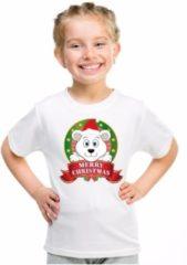Bellatio Decorations Kerst t-shirt voor jongens met ijsbeer print - wit - shirt voor jongens en meisjes M (134-140)