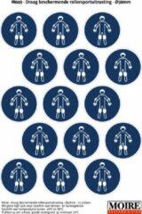 Blauwe Moire BV Pictogram sticker 75 stuks M049 - Draag beschermende rollersportuitrusting - 50 x 50 mm - 15 stickers op 1 vel