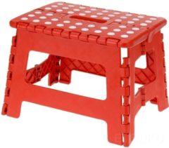 Inklapbare opstapkruk / keukentrapje rood - 29 x 22 x 22 cm - Opstapkrukje rood