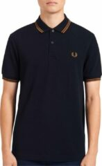 Fred Perry regular fit polo Twin Tipped donkerblauw