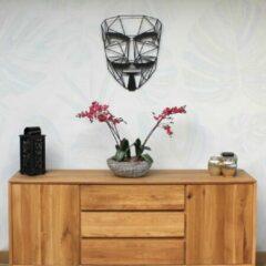 Zwarte Drart - Metalen Anonymus 60 cm x 48 cm - metalen wanddecoratie - metal anonymus