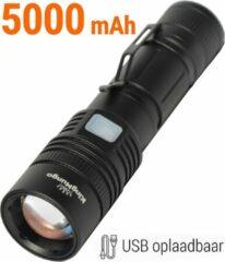 Zwarte Zaklamp LED 5000 mAh USB Oplaadbaar Militaire Zaklamp | Zeer Fel 1200 Echte Lumen | King Mungo Tactical Zaklamp KM-55