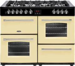 Creme witte Belling Farmhouse 110 DFT Range cooker Gaskookplaat Crème