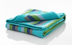 Pebble Child Pebble Crochet Edge Stripey - Wiegdeken 75x100 cm - Deep Turquoise