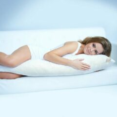 Witte Beautissu BeauNuit SK Zijslaapkussen 40x200 cm - premium body pillow lichaamskussen – microvezel kussen - zwangerschapskussen - 1750 gram