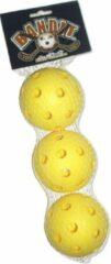 Bandit Floorball Unihockey Ballen set 3 stuks GEEL