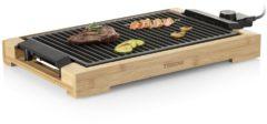 Zwarte Tristar Bakplaat en elektrische barbecue 2000 W 37x25 cm bamboe
