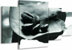 GroepArt Schilderij | Canvas Schilderij Koffiebonen, Keuken | Grijs, Groen | 160x90cm 4Luik | Foto print op Canvas