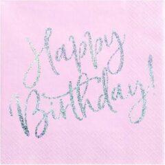 PartyDeco Servetten Happy Birthday Roze / Zilver (20 stuks)