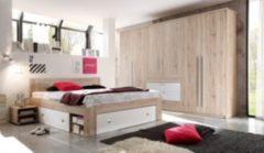 Schlafzimmer mit Bett 180 x 200 cm, Nakos und Kleiderschrank Eiche San Remo hell/ weiss PolPower Bright/ Stefan