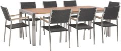 Beliani Tuinset eucalyptushout met 8 rotan stoelen zwart GROSSETO