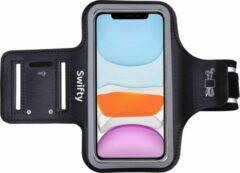 Universele Smartphone Hardloop Armband Zwart/ Sportarmband Hardloopband - Inclusief ruimte voor 2 sleutels- Sportarmband - Smartphonehouder - Geschikt voor iPhone 11 Pro / XS / X / 8 / 7 / 6S / 6 - Samsung - Huawei - 100% Spatwaterdicht - Swifty