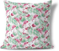 Groene We Maqe Sierkussen flamingo paradijs Isabella 45x45 cm