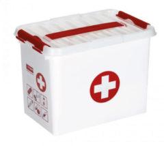Rode Sunware Q-line EHBO Opbergbox - Met inzet - 9 l - wit/transparant/rood
