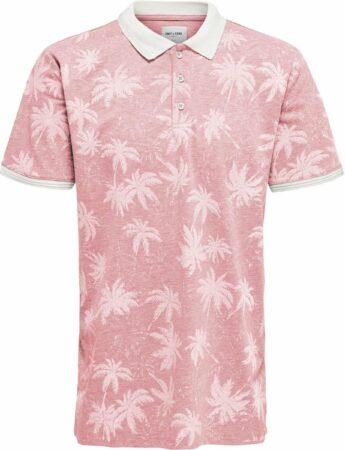 Afbeelding van Roze Only & Sons 10201921 Heren Poloshirt Maat M