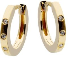 Gold Collection Gouden Klapcreolen met Diamant 3 x 0.03ct Mat 12 mm 207.2001.00