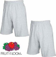 Fruit of the Loom (2 Pack) Korte Broeken Grijs Maat L