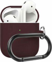 Bordeauxrode AirPods hoesje van By Qubix - AirPods 1/2 case siliconen chargebox Series - soft case - bordeaux - UV bescherming