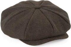 Merkloos / Sans marque Bruine flatcap voor dames - volledig gestikt - bakerboy pet / flat cap L/XL