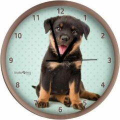 Merkloos / Sans marque Honden wandklok Rottweiler pup beige 25 cm