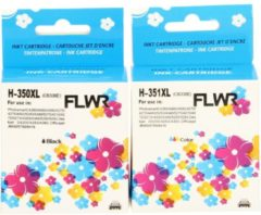 FLWR - Inktcartridges / 350XL + 351XL / Multipack Zwart en kleur - Geschikt voor HP