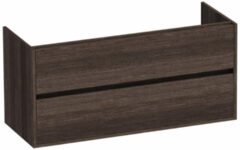 Saniclass Nexxt onderkast 120cm met 2 laden greeploos 2 sifonuitsparingen Legno Antracite 1445